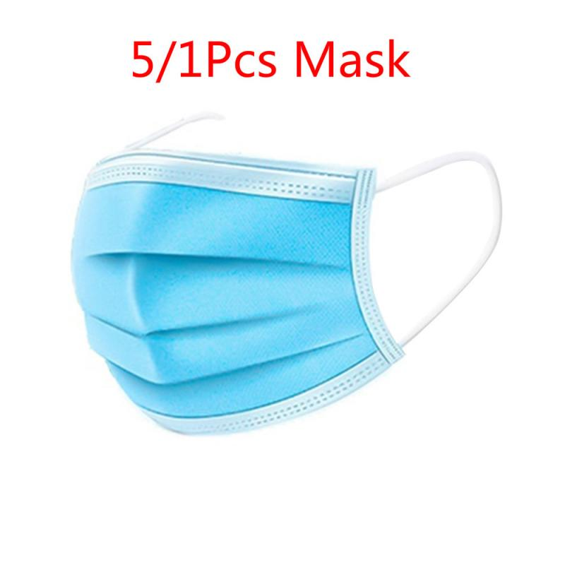 5/10Pcs 3 Layers Non-woven Disposable Face Mask  Anti Haze Dustproof Unisex Earloop Mouth Mask Safety 25%