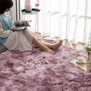 RULDGEE Printed-Mats Area Rug Alfombra Carpet-Shaggy Tie-Dye Floor Faux-Fur Living-Room