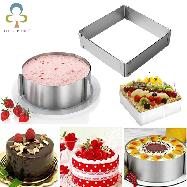$ US $3.47 Adjustable Mousse Ring Round & Square Cake Mold Stainless Steel Baking Mould Pastry Dessert Accessories Cake Decorating Tool ZXH