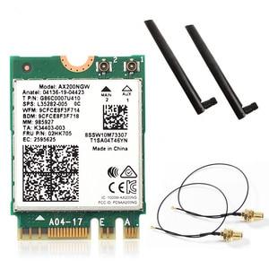 Image 1 - Dual Band Wifi 6 אלחוטי 2400Mbps AX200NGW NGFF M.2 Wlan Bluetooth 5.0 Wifi כרטיס 802.11ac/ax עבור אינטל AX200 אנטנות סט