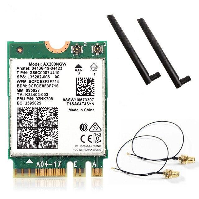 Dwuzakresowe Wifi 6 bezprzewodowe 2400 mb/s AX200NGW NGFF M.2 Wlan Bluetooth 5.0 karta Wifi 1/802 ac/ax dla zestawu anten Intel AX200
