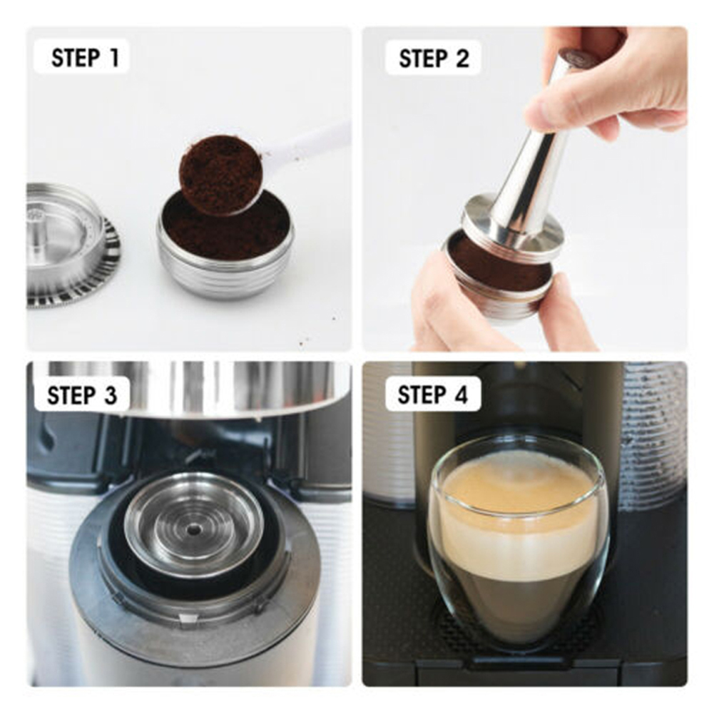 Stainless Steel Metal Refillable Reusable Coffee Pods Capsules 230ml For Nespresso Vertuo Machine