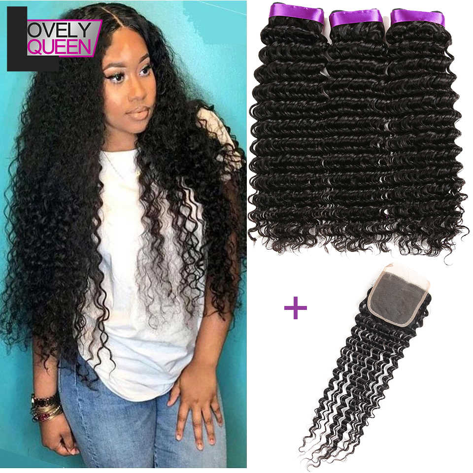 Deep Wave Closure with Bundles Raw Indian Hair 3 Bundles with Closure Human Hair Wet and Wavy Bundles with Frontal Closure