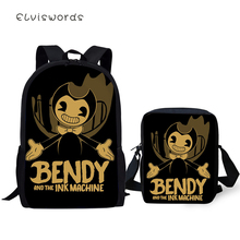 ELVISWORDS Kids 2PC/Set Backpacks Bendy and the Ink Machine Pattern School Book Bags Fashion Toddler Backpack/Flaps Bag/Pen