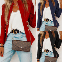 New Fashion Autumn Buttons Zip Short Jacket Coats Women Stand Collar Female Long