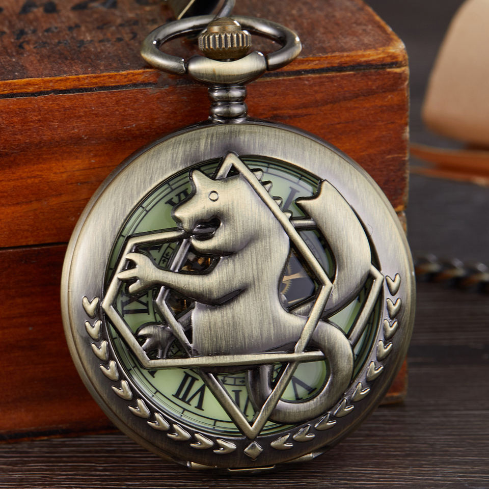 Retro Full Metal Alchemist Mechanical Pocket Watch Men Women Clock Hollow Double Case Watches Necklace Pendants With Fob Chain