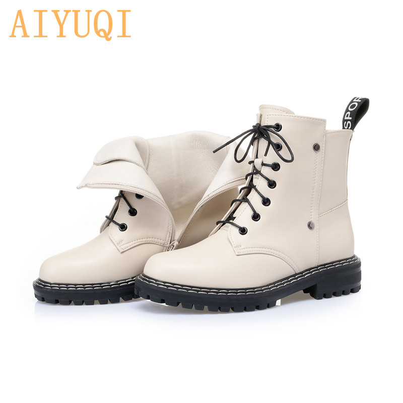 AIYUQI Women's Winter shoe Boots 2020 New Genuine Leather Ladies Short Boots Wool Warm Non-slip Student Women's Ankle Boots