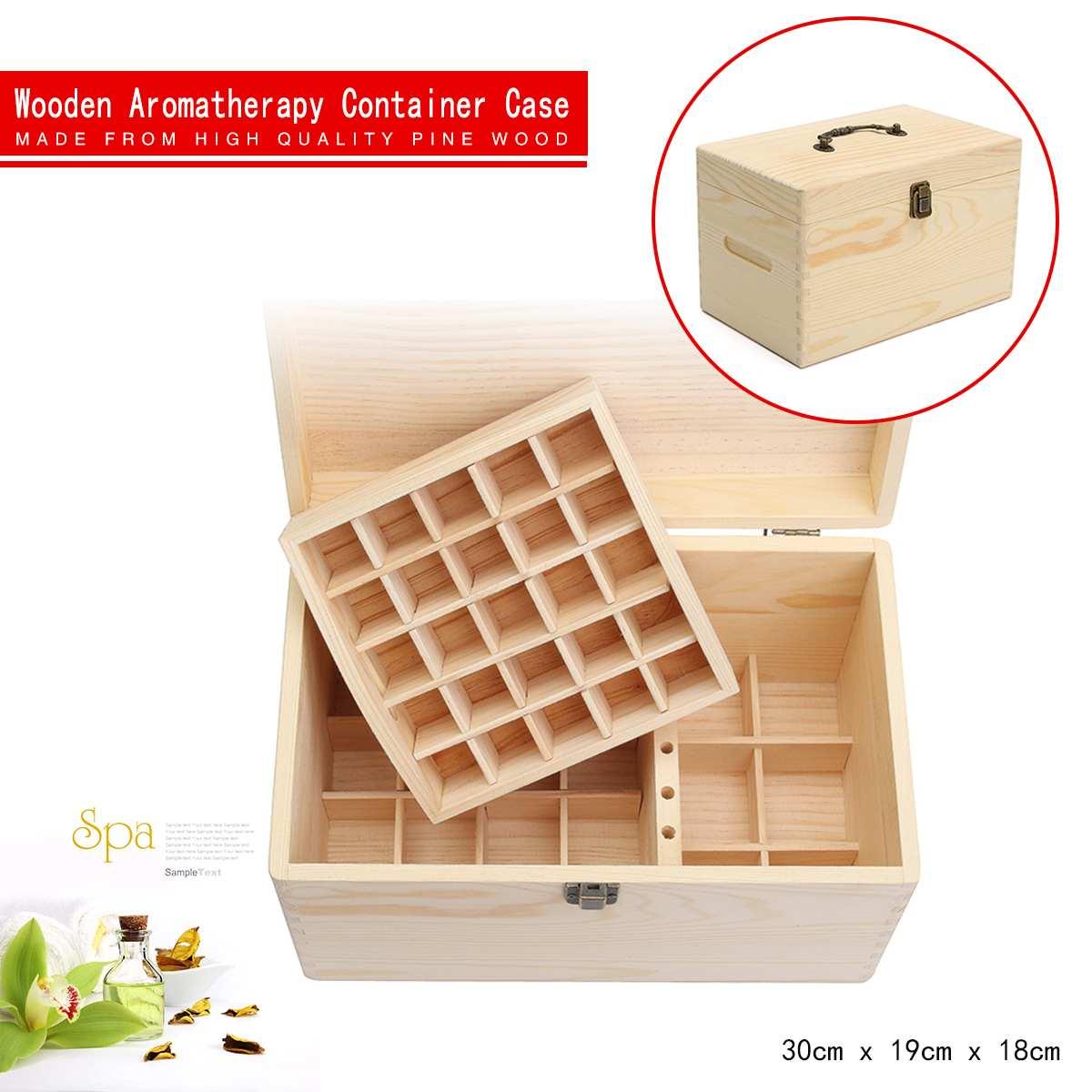 Boîte d'aromathérapie de stockage en bois de caisse d'huile essentielle de 47 fentes pour l'organisateur de récipient de mallette de rangement de Double-plate-forme de Club de YOGA de station thermale