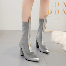 Shoes Woman Corduroy Mid Calf Boots Zipper High Heels Boots Ladies Pointed Toe Half Booties Luxury Zapatos De Mujer Black Silver hot sale beautiful women mid calf velvet boots block heeled blue black pointed toe back zip boots party high heels zapatos mujer