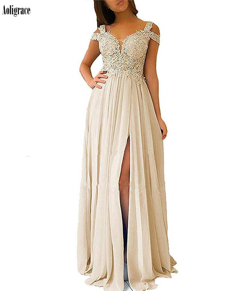 2020 Sky Blue Bridesmaid Dresses With Split Off The Shoulder Lace Appliques Chiffon Wedding Guest Dresses Maid Of Honor Gowns