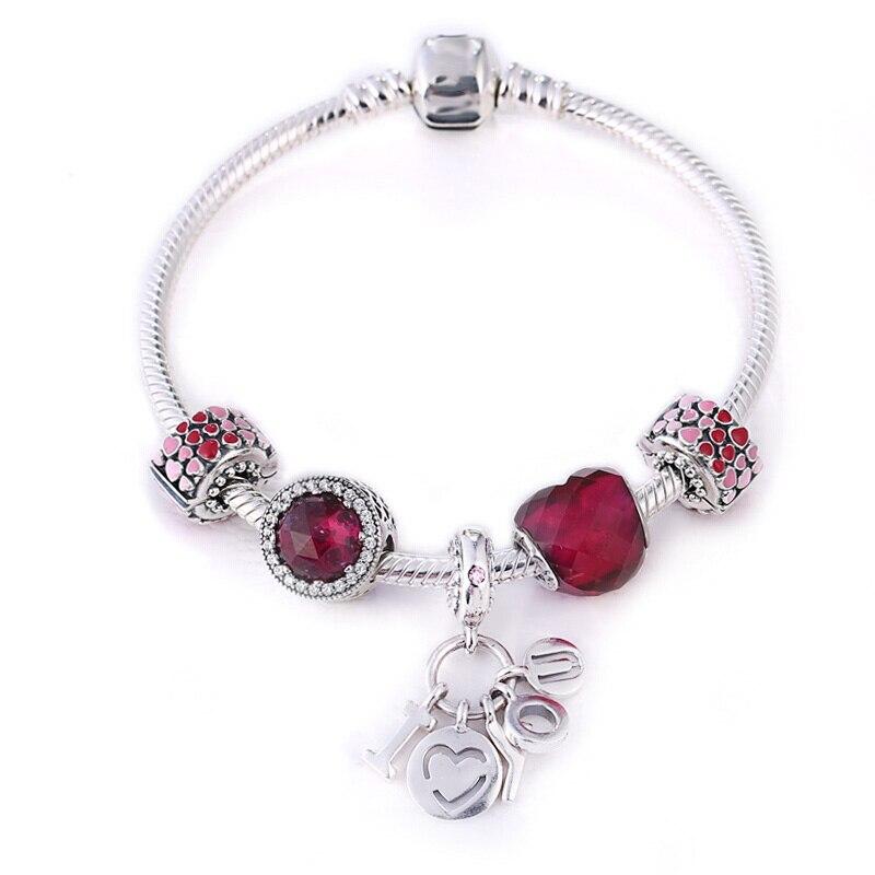 Marfend 2018 bijoux de mode amour feu coeur charme bracelets pour femme perles de cristal Fit Bracelet Marfend