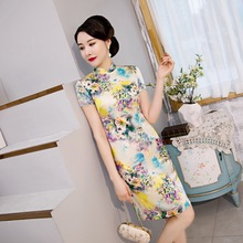 and summer 2020 new heavy weight silk silk cheongsam short sleeve printing short cheongsam dress fashionable and young