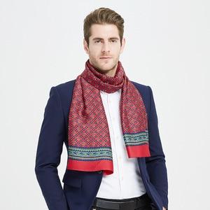 Image 5 - גברים אלגנטיים 100% טהור משי ארוך צעיף שכבה כפולה הדפסת Neckechief שחור אדום כחול אור חום