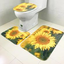 Mat Bathroom-Rug Toilet-Cover Door-Mat Foot-Pad Soft-Carpet Absorbent Non-Slip 3piece-Set