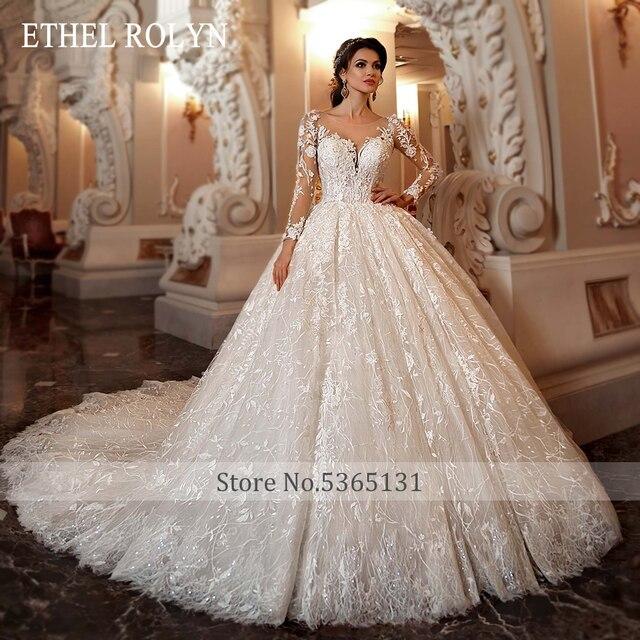 ETHEL ROLYN Lace Ball Gown Wedding Dress 2021 Long Sleeve Beading Appliques Vintage Bridal Princess Bride Dresses Robe De Mariee 4