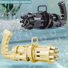 Crianças automático gatling bolha arma brinquedos verão sabão água bolha máquina 2-em-1 máquina de bolha elétrica para crianças presente brinquedos