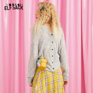 Image 3 - ELFSACK V Neck Button Solid Casual Oversized Sweater Women Knitted Top 2019 Autumn Korean Style Ladies Sweaters