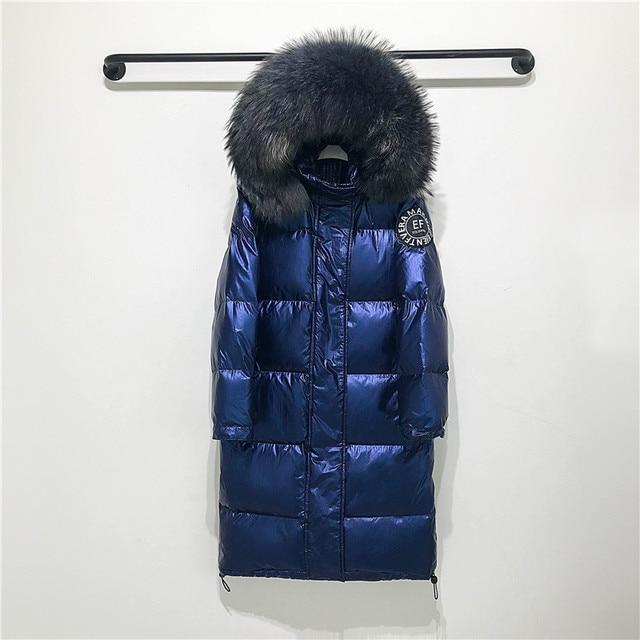 Big Real Raccoon Fur Collar 2019 Hooded Winter Jacket Women Long  White Duck Down Parkas Coat Female Loose Thick Warm Outwear 2