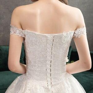 Image 5 - Nova chegada doce elegante princesa luxo rendas vestido de casamento 100 cm barco pescoço apliques celebridade vestido de baile