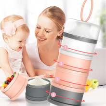 4 layers Baby Food Box Mix Container Infant Food Storage Essential Cereal Milk Powder Box Reusable Snack Formula Dispenser