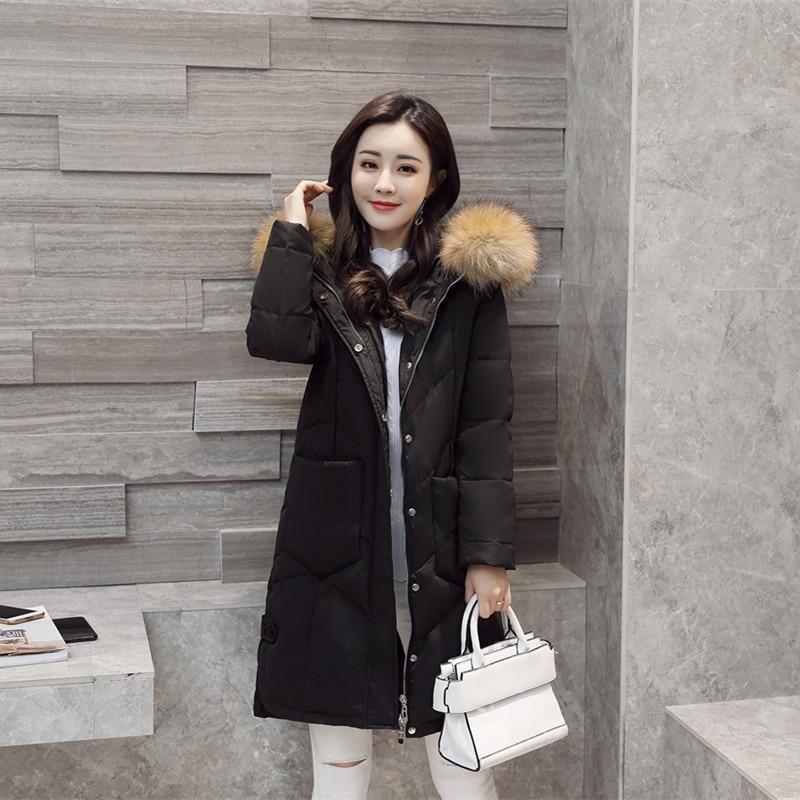 Winter Down Jacket Women Hooded Big Fur Collar Thick Red Long Coat Women Puffer Coats Parka Chamarras De Mujer KJ643