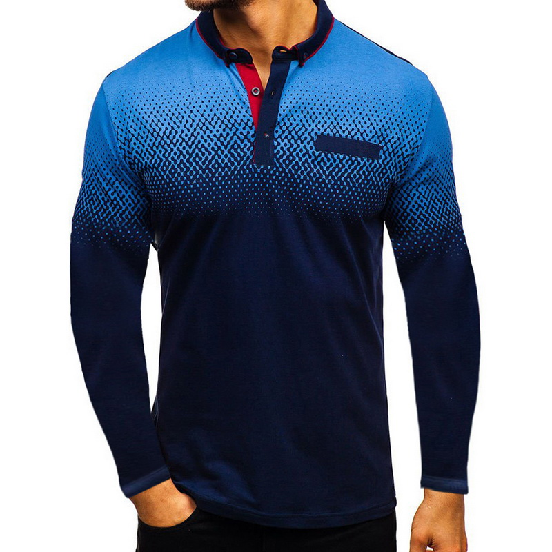 LOOZYKIT High Quality Men Polo Shirt Patchwork Mens Long Sleeve Polo Shirts Camisa Polos Masculina Popular Casual Plus Size Tops