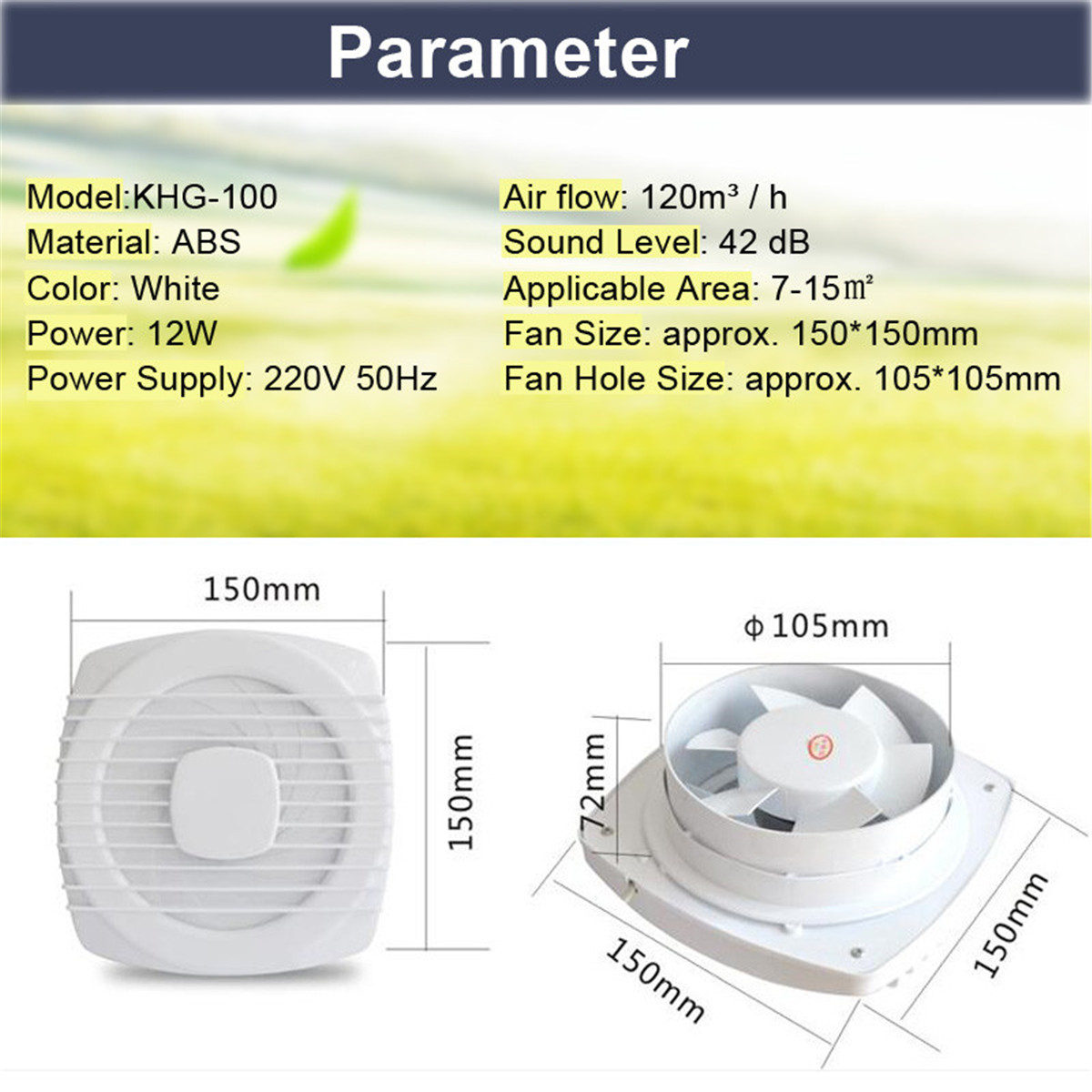 12W 6'' Pull Rope Exhaust Fan Kitchen Bathroom Toilet Small Air Conditioning Appliance Extractor Fan Ventilation Low Noise 220V 3