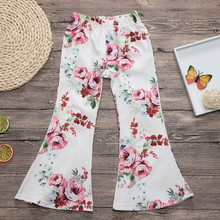 New Girls Clothing Flare Pants Children Toddler Girls Fashion Floral Print Mid Elastic Waist Trousers For Kids 2-7 Years Old #c(China)