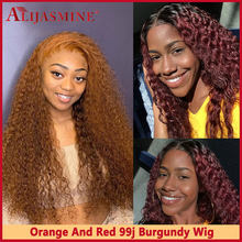 Ginger Wig Red 99j Burgundy Curly 13x6 Lace Front Human Hair Wigs For Women Orange Colored Human Hair Wigs Brazilian Remy(China)