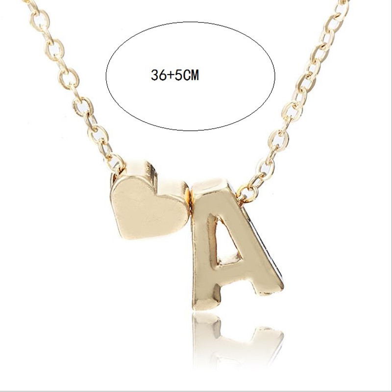 Fashion Tiny Heart Dainty Initial Statement Letter Name Choker Necklace For Women Pendant Jewelry Accessories Wedding Gift