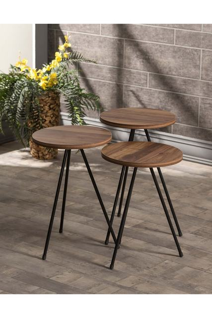 Triple Set Creative Round  Wooden  Coffee Tables 1