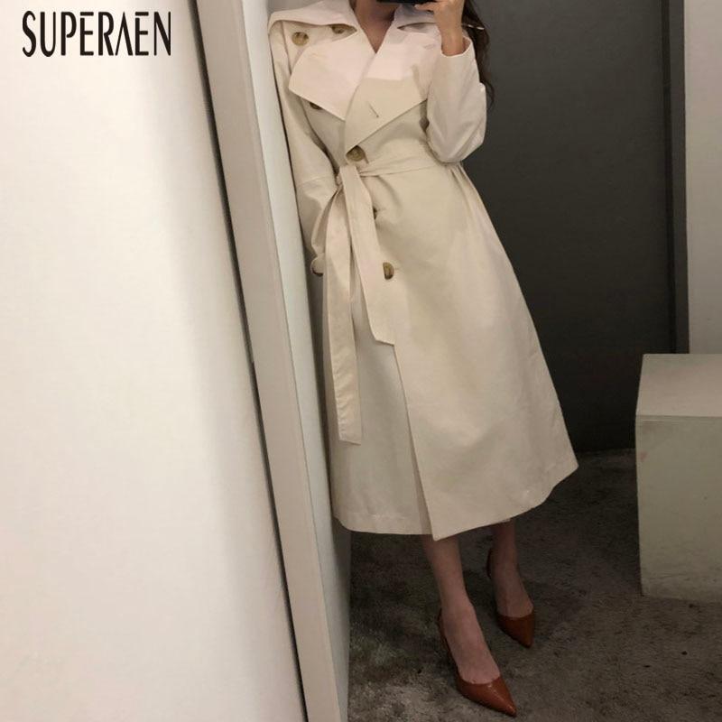 SuperAen Korean Style   Trench   Coat for Women Temperament Lapel Single-breasted Ladies Windbreaker Autumn New 2019 Women Clothing