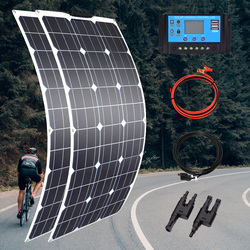100w 200w 300w 400w Flexible Solar Panel High Efficiency 23% PWM Controller for RV/Boat/Car/Home 12V/24V Battery Charger