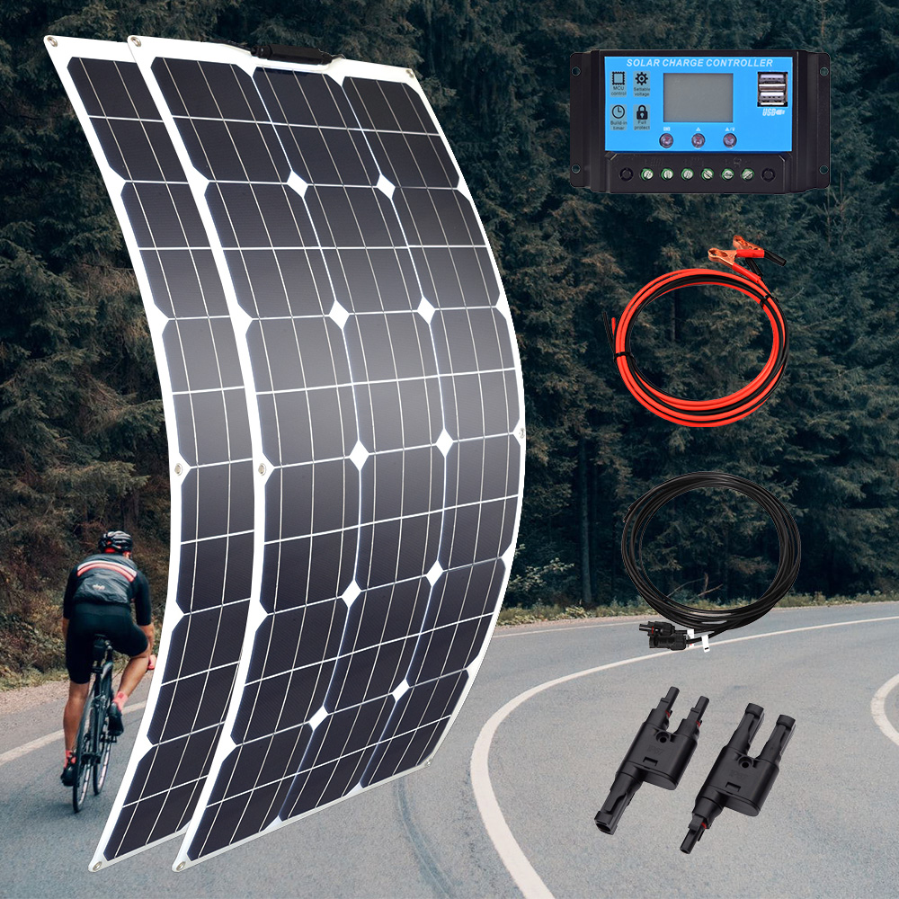 100w 200w 300w 400w painel solar flexível de alta eficiência 23% pwm controlador para rv/barco/carro/casa 12v/24v carregador de bateria