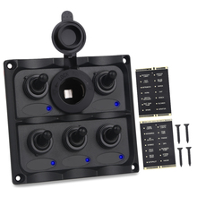 Boat Switch Panel 12v 24V Waterproof Cigarette Lighter Circuit Breaker 5 Gang On-Off Car Rocker Marine