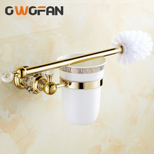 цены Toilet Brush Holders Luxury Wall Mounted Brass with Crystal Ceramic Cup Golden Bath Toilet brush Bathroom Accessories 4546K