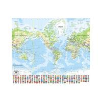 90x90cm Mercator Projection World Map Non-woven Inkjet Waterproof HD World Map With National Flag