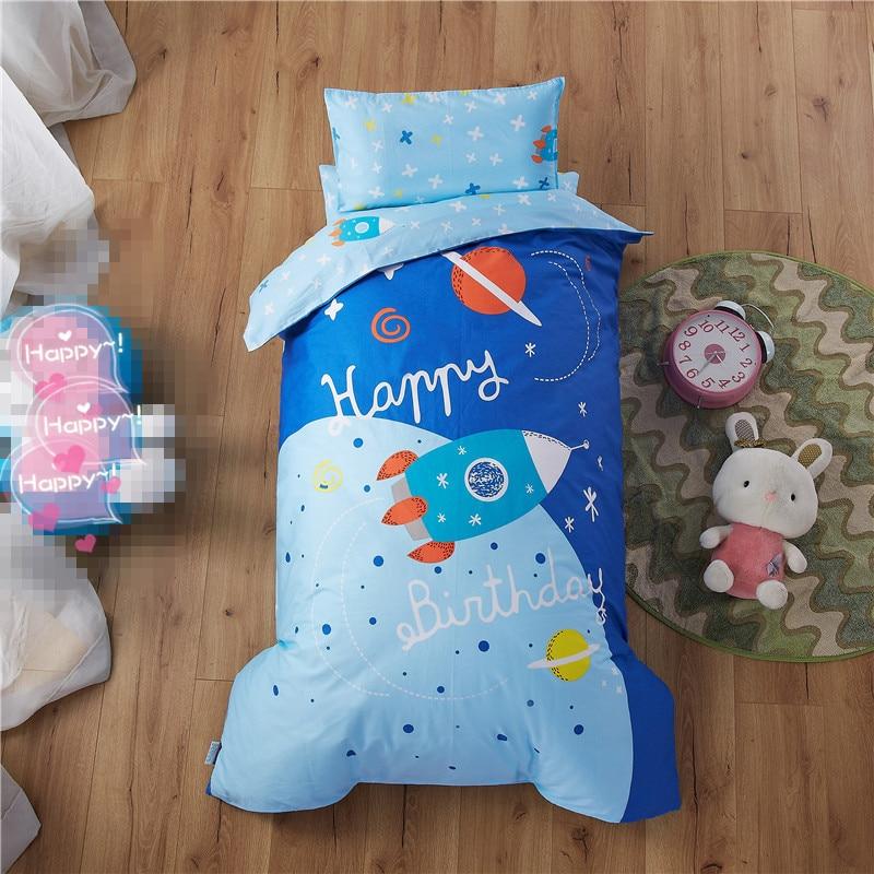 Cartoon Bedding Set 100% Cotton Blue Duvet Cover Set 3pcs/set Boys Girl Baby Bed Linen Kids Children Bedclothes 0-8year Bed Set