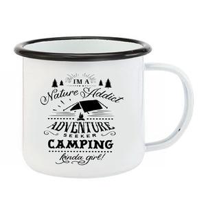Image 4 - Edelstahl Camping Kaffee Becher Camping Irgendwie Mädchen Retro Emaille Geburtstag Weihnachten Im Freien Metall Emaille Lagerfeuer Tasse