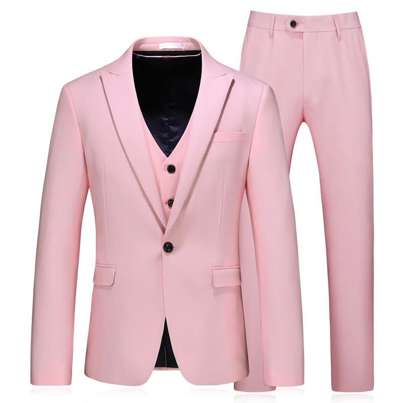 Men's Suit Pink Single Button Slim Men's Suit 3-Piece Suit Blazer Trousers Vest Men's Business Professional Wear Wedding Dress