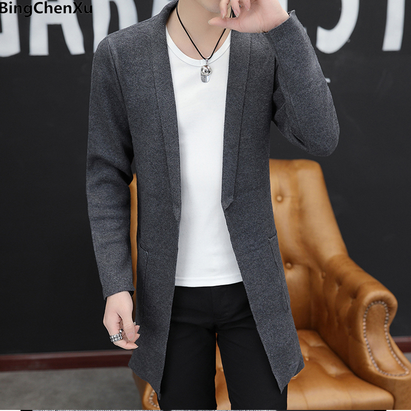 Male Cardigan Sweaters Embroidery Mens Long-Coat Knitted Autumn New-Fashion Casual 9986 title=