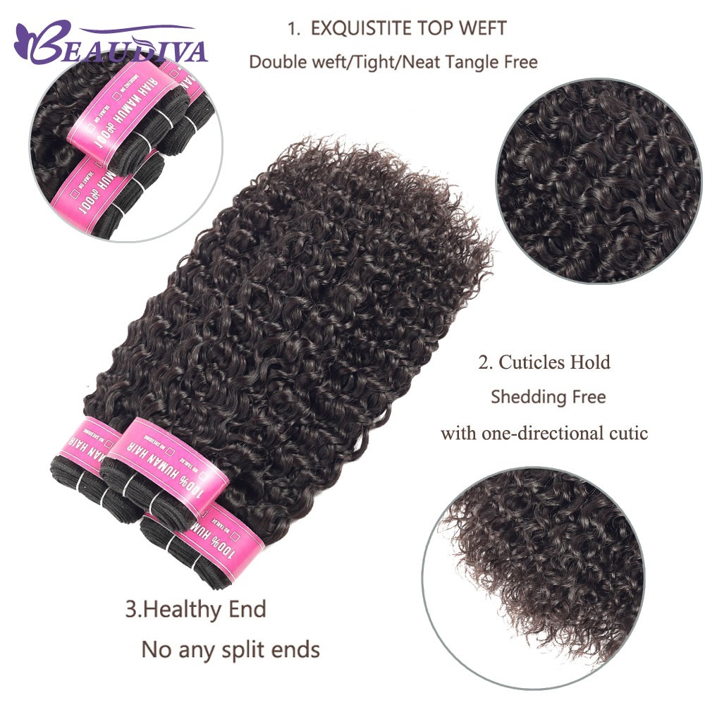 BEAUDIVA Hair Products 100%   Bundles With Closure Kinky Curly Natural Color 3 Bundles With 4x4 Lace Closure 4