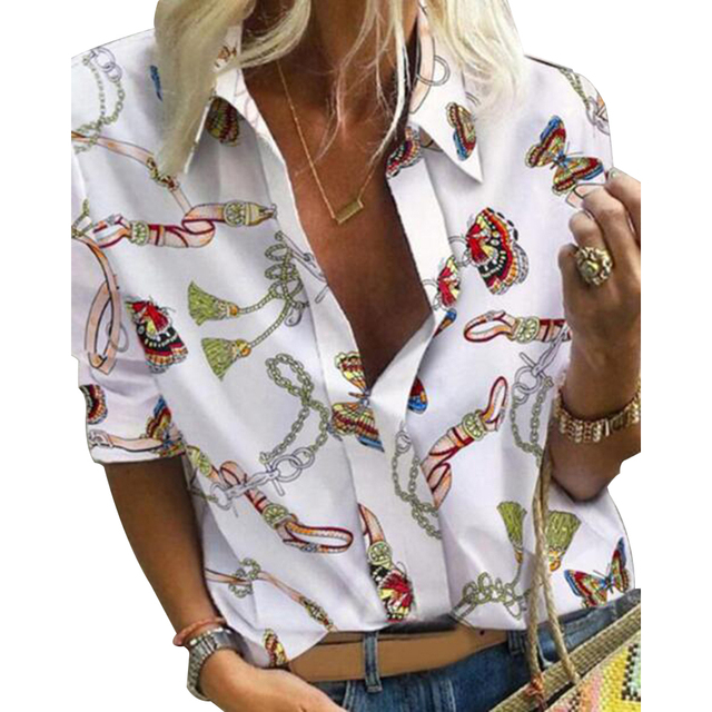 Chain Print Blouse and Shirt Women Long Sleeve Vintage Shirt Womens Tops and Blouse for Women Plus Size Top 5XL Spring 2020 5