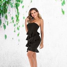Women Strapless Ruffles Dress Sexy Off Shoulder Night Club Party Mini Summer Bodycon Elegant Bandage black