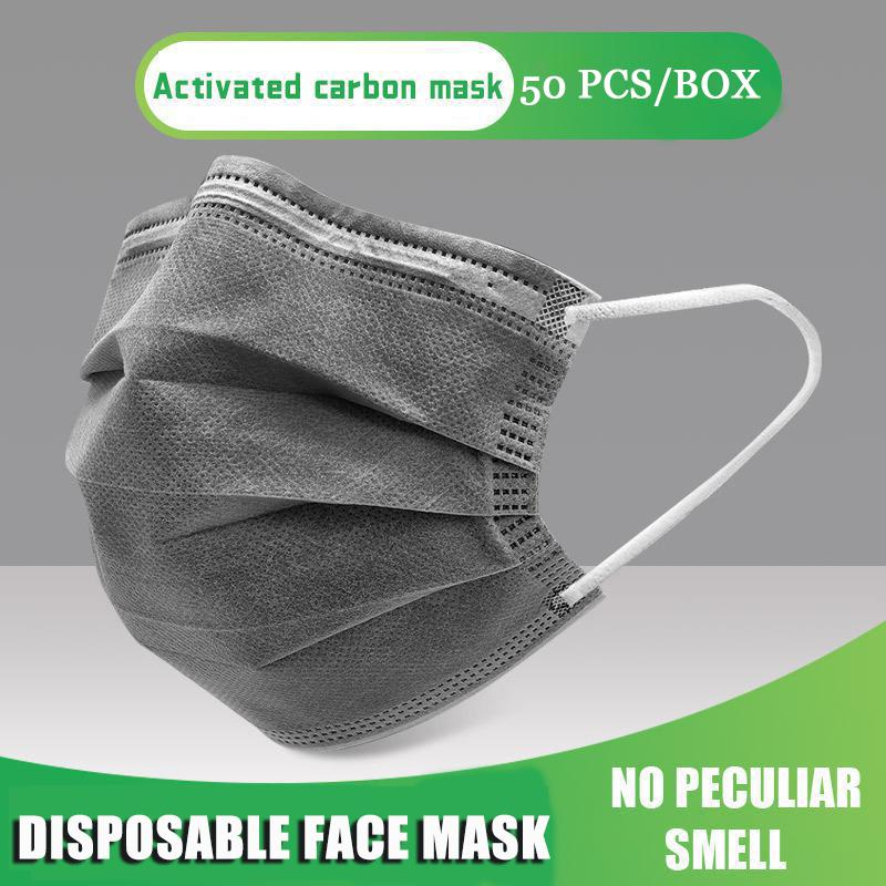 50pcs/box Disposable Four-layer Masks Black Gray Mouth Face Mask Earloop Adults Nonwoven Activated Mask