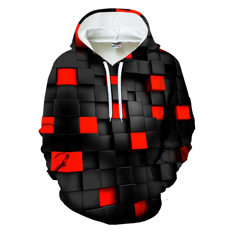 New Black Red Square vortex <font><b>Hoodies</b></font> Men Sweatshirts Funny Grid Hypnosis Print <font><b>3D</b></font> Hoodie <font><b>Unisex</b></font> Spring Casual Hoody Harajuku Coat image