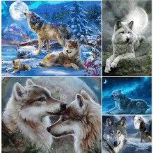 Diy pintura a óleo por números para adultos crianças animais lobo kit arte imagem desenhar cor acrílico pintura por número na lona decoração presente