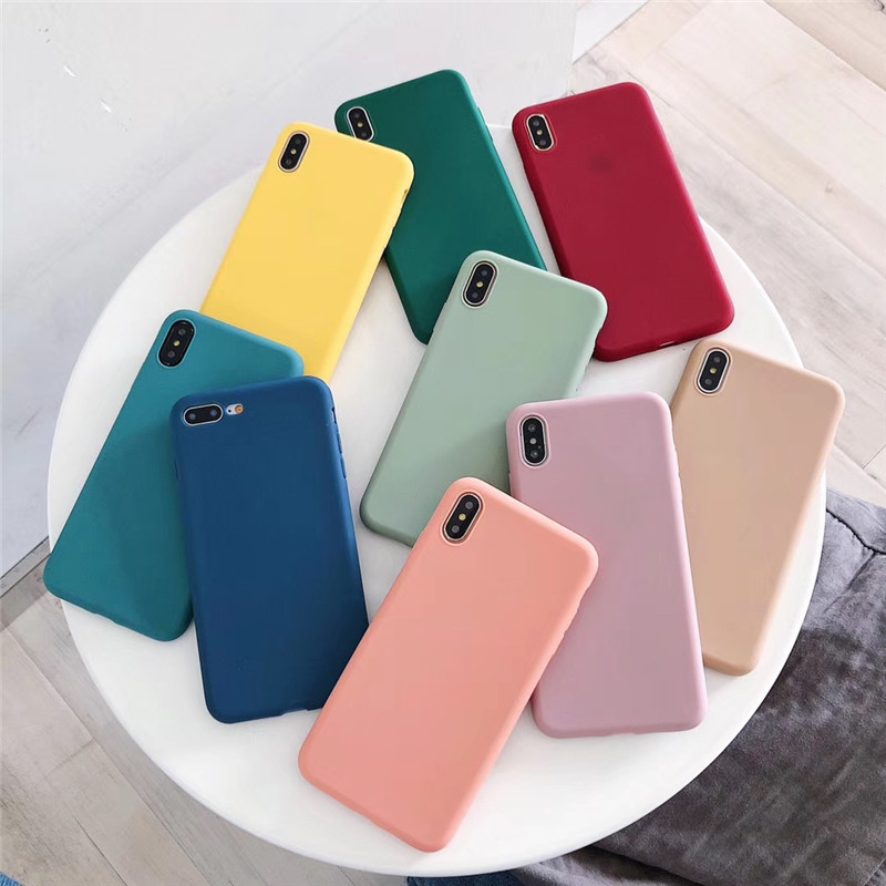 For Samsung Case A50 A30 A20 A20e A10 A70 J4 J6 J8 A6 A8 Plus <font><b>2018</b></font> Note9 <font><b>8</b></font> 10 S8 S9 S10 Plus S10e Simple Soft Candy Color Case image