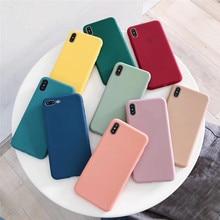Funda para Samsung A50 A30 A20 A20e A10 A70 J4 J6 J8 A6 A8 Plus 2018 Note9 8 10 S8 S9 S10 más S10e Simple color Caramelo Suave caso