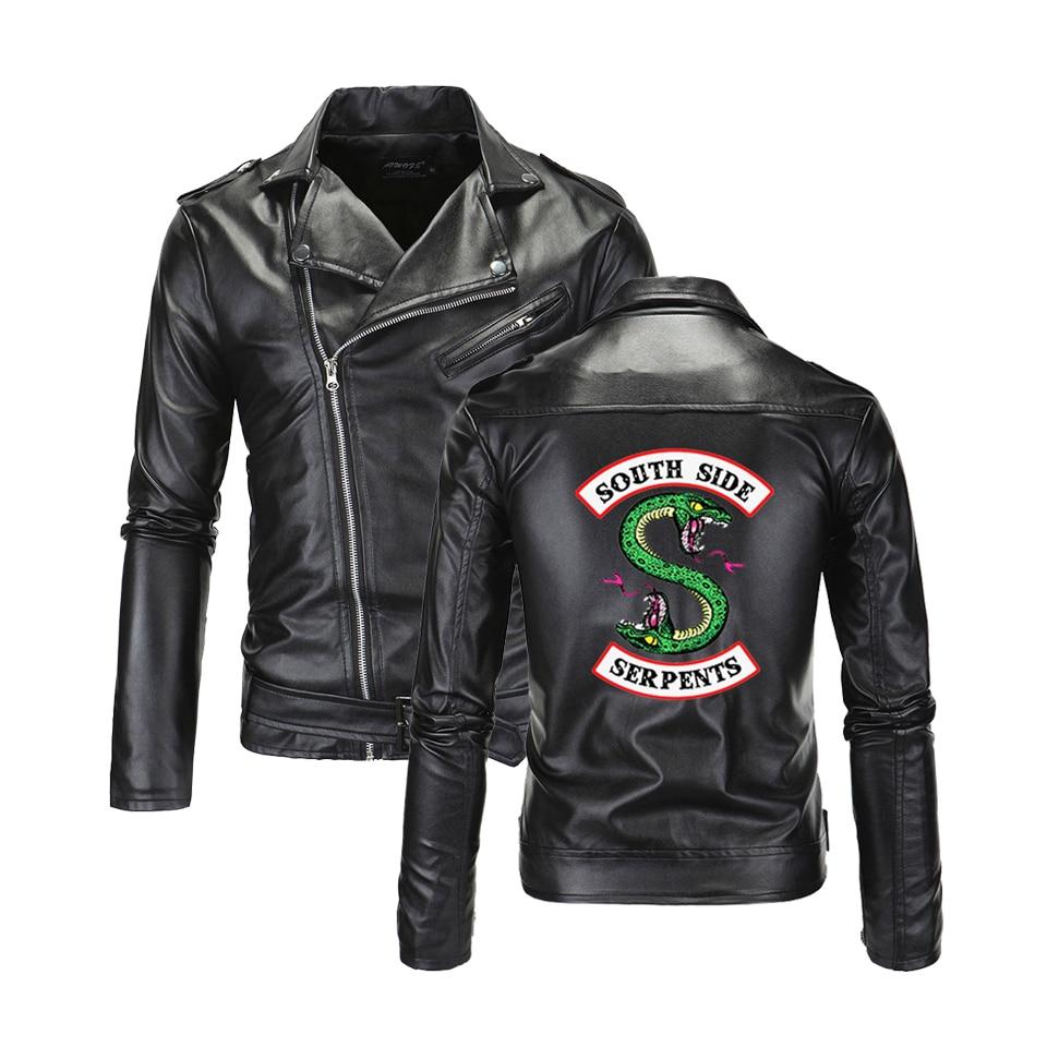 Southside Riverdale Turn-down Collar PU Leather Jackets Serpents Fashion Men Cool Streetwear Brand South Side Serpent Jacket